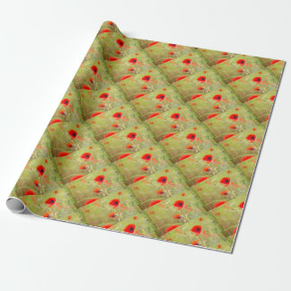 Tender shot of red poppies on the field wrapping paper