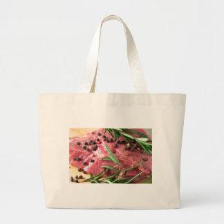 Tenderloin of raw beef large tote bag