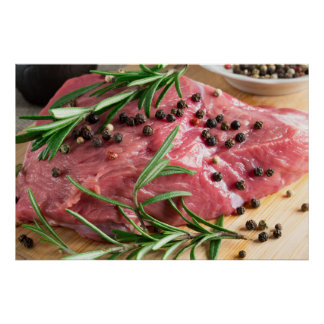 Tenderloin of raw beef with herbs and spices poster