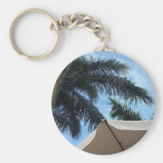 Tenerife Palm Tree Button Key Ring Basic Round Button Keychain
