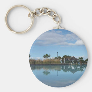 Tenerife Poolside View Button Key Ring