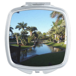 Tenerife Stream with Palm Trees Compact Mirror