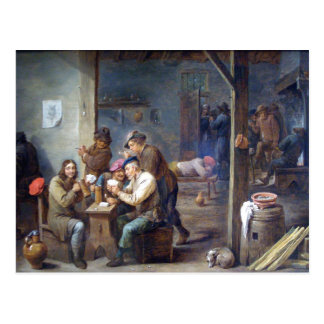 Teniers the Younger - Tavern Scene, 1658 Postcard