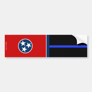 Tenn. Flag & Police Thin Blue Line Bumper Sticker