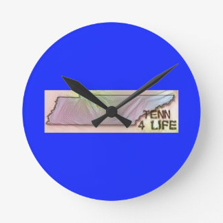"""""""Tennessee 4 Life"""" State Map Pride Design Round Clock"""