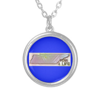 """""""Tennessee 4 Life"""" State Map Pride Design Silver Plated Necklace"""