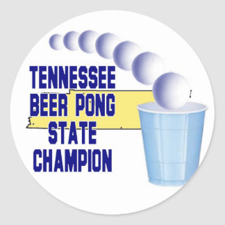 Tennessee Ber Pong Champion Classic Round Sticker
