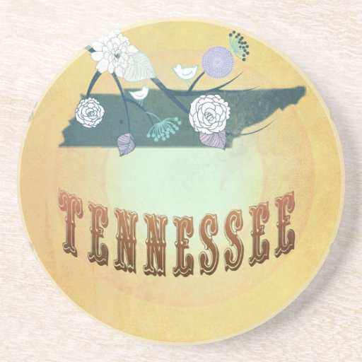 Tennessee Map With Lovely Birds Beverage Coaster