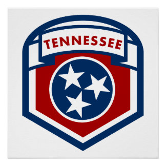 Tennessee State Flag Crest Shield Style Poster