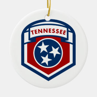 Tennessee State Flag Crest Shield Style Round Ceramic Ornament