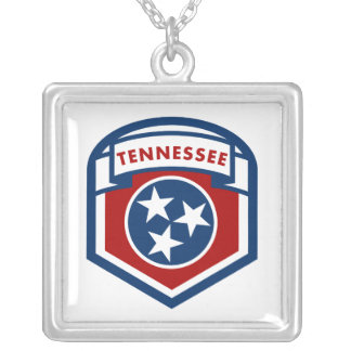 Tennessee State Flag Crest Shield Style Silver Plated Necklace