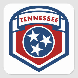 Tennessee State Flag Crest Shield Style Square Sticker