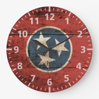 Tennessee State Flag on Old Wood Grain Large Clock