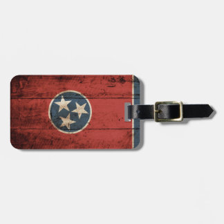 Tennessee State Flag on Old Wood Grain Luggage Tag