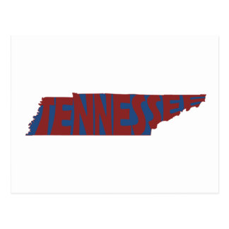 Tennessee State Name Word Art Red Postcard