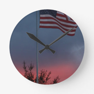 Tennessee Sunset and Flag Round Clock