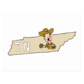 Tennessee TN State Map & Nashville Music Postcard