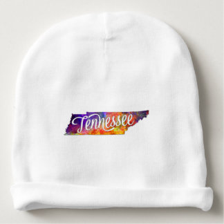 Tennessee U.S. State in watercolor text cut out Baby Beanie