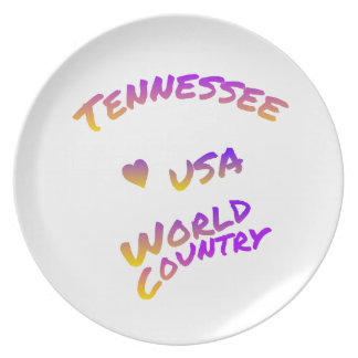 Tennessee usa world country, colorful text art plate