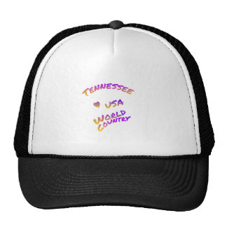 Tennessee usa world country, colorful text art trucker hat