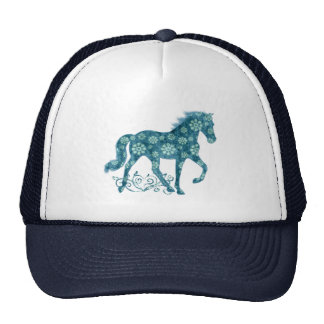 Tennessee Walking Horse Teal Grunge Floral Trucker Hat