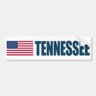Tennessee with US Flag Bumper Sticker