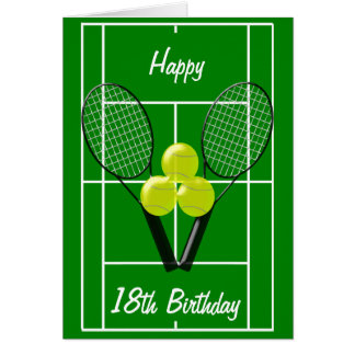 Tennis 18th Birthday Card