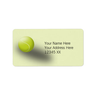 Tennis address labels, green. Tennis ball, sport. Label