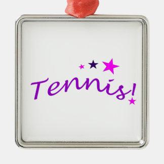 Tennis arqué avec des étoiles ornement carré argenté