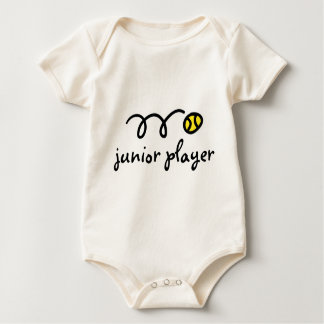 Tennis baby outfit saying: junior player baby bodysuit