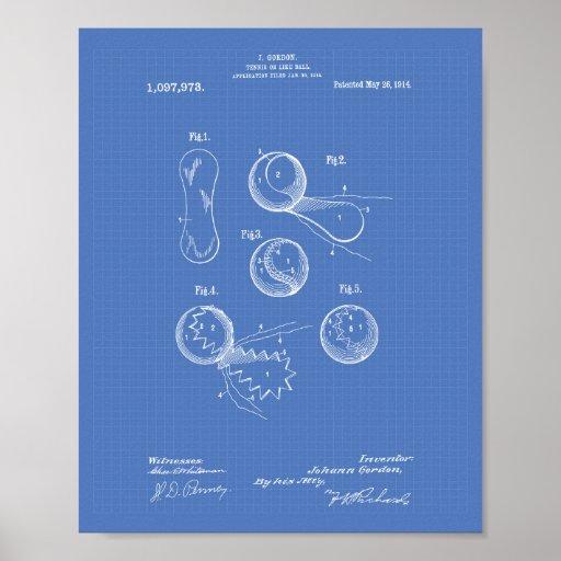 Tennis Ball 1914 Patent Art Blueprint Poster
