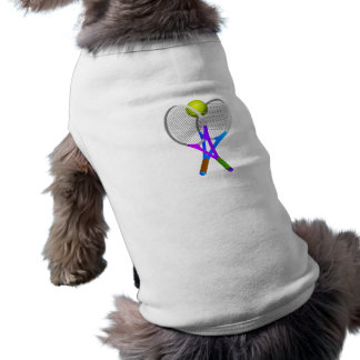 Tennis Ball and Rackets Dog T-shirt