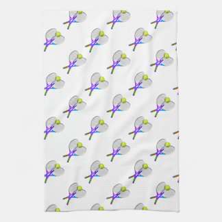 Tennis Ball and Rackets Kitchen Towel