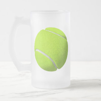 Tennis Ball Frosted Glass Beer Mug