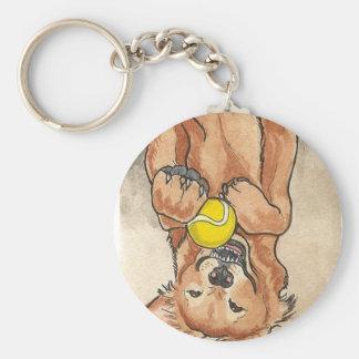Tennis Ball Fun Golden Retriever Dog Art Keychain