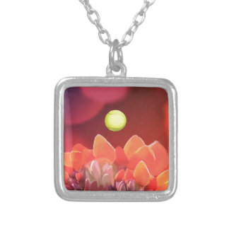 Tennis ball in Wild flower Silver Plated Necklace
