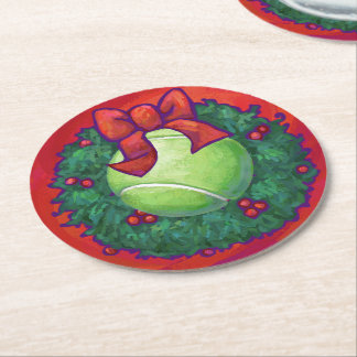 Tennis Ball in Wreath on Red Round Paper Coaster