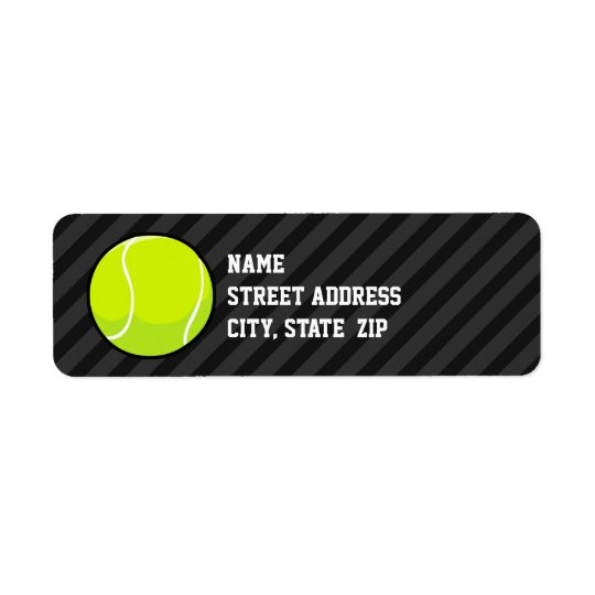 Tennis Ball on Black & Dark Grey Stripes Return Address Label