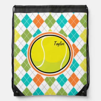 Tennis Ball on Colorful Argyle Pattern Drawstring Bag