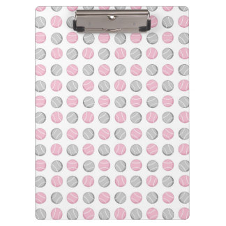 Tennis Ball Pattern Pink and Grey Clipboard