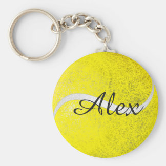 Tennis ball personalized name basic round button keychain
