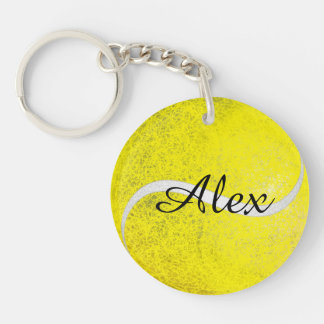 Tennis ball personalized name Double-Sided round acrylic keychain