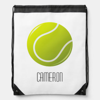 Tennis ball personalized name drawstring bag