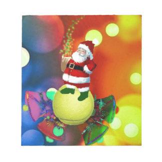 Tennis ball Santa and bells. Notepad