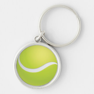 Tennis Ball Silver-Colored Round Keychain