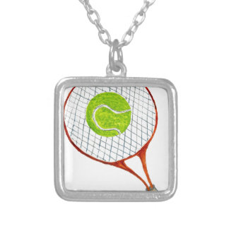 Tennis Ball Sketch3 Silver Plated Necklace