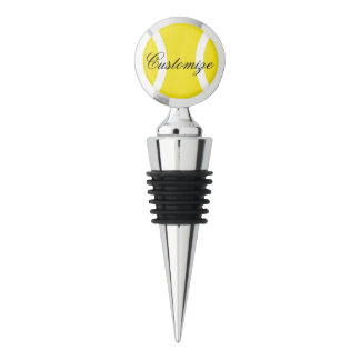 Tennis ball wine stoppers with personalized text