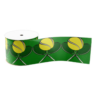 Tennis Ball with Crossed Racquets Ribbon Grosgrain Ribbon