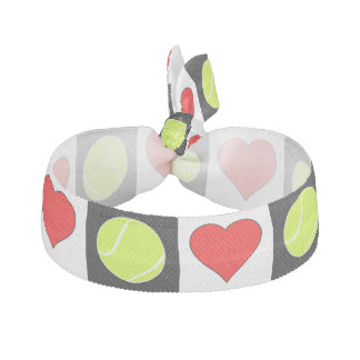 Tennis Balls and Hearts Checkered Pattern Hairties Hair Tie