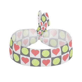 Tennis Balls and Hearts Cute Checkered Hairtie